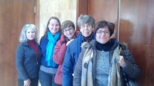 Left to Right:  Marcia Colagiovanni, Robin Weintraub, Rabbi Barbara Aiello, Florence Preisler, and Ellen Paderson.